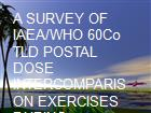 A SURVEY OF IAEA/WHO 60Co TLD POSTAL DOSE INTERCOMPARISON EXERCISES DURING 19852003Ahmad Syed Salman, Khalid Mahmood, and Saraj Din Orfi powerpoint presentation
