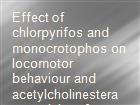 Effect of chlorpyrifos and monocrotophos on locomotor behaviour and acetylcholinesterase activity of subterranean termites, Odontotermes obesus powerpoint presentation