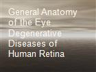General Anatomy of the Eye  Degenerative Diseases of Human Retina powerpoint presentation