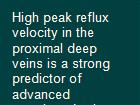 High peak reflux velocity in the proximal deep veins is a strong predictor of advanced postthrombotic sequelae powerpoint presentation