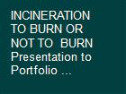INCINERATION TO BURN OR NOT TO  BURN Presentation to Portfolio ... powerpoint presentation