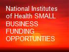 National Institutes of Health SMALL BUSINESS FUNDING OPPORTUNTIES powerpoint presentation