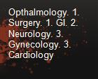 Opthalmology. 1. Surgery. 1. GI. 2. Neurology. 3. Gynecology. 3. Cardiology powerpoint presentation