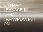 URINARY LEAKAGE IN RENAL TRANSPLANTATION powerpoint presentation